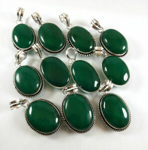 50 Pcs Lot Natural Green Aventurine 925 Sterling Silver Plated Pendants VPC36