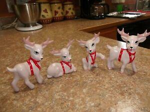 "Vintage Lot Of 4 Ceramic Christmas Deer Reindeer 4""-5"" Tall Hand Painted Mold"