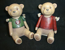 2 x vintage antique style Sitting Teddy Bear Ornament Decoration jointed arms