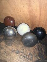 Vintage Lot of 5 Door Knobs Variety! White,brown,Metal,Black Etc.
