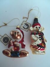 2 Boyds Bear Santa Teddy Blown Glass Christmas Tree Ornaments 97 98 numbered