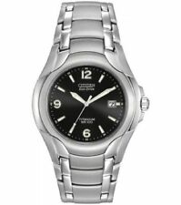 Citizen Eco-Drive Men's BM6060-57F Dress Black Dial Titanium Bracelet Date Watch