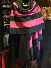 Vintage 1980's Striped Black And Fuchsia Freeform Sweater Knit Poncho Wrap