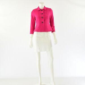 New Womens 2P Vibrant Pink Ann Taylor Blazer 3 Button Stretch