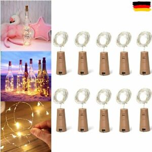 10x 20-LED Flaschenlicht Lichterkette Weinflasche Kork Beleuchtung Party Licht