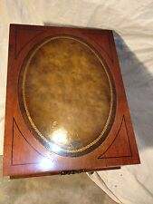 Antique Night Stand Tooled Leather,Solid Mahogany VA Local PickUpOnly.MAKE OFFER
