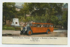 Montreal, Quebec, Canada postcard - giant red sightseeing bus