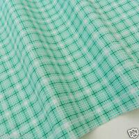 """1x metre mint green & white stripe/check fabric poly cotton  44"""" wide"""