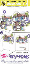 Tryfolds Cottage Set Unmounted Rubber Stamps with Cushion AI Art Impression NEW