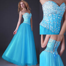 BLUE+ Princess Corset Quinceanera Dresses Ball Gown long Prom Formal Gowns Stock