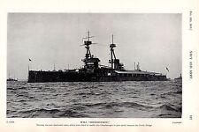1915 WWI ~  HMS BELLEROPHON ~ SHORTENED MASTS TO PASS BENEATH FORTH BRIDGE