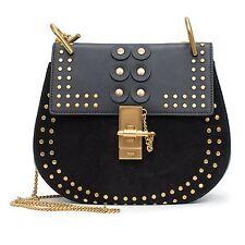 Chloe Black Shoulder Gold Studded Velvet Grommet Bag Drew Porte Epaule New