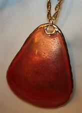 Large Sculpted Two-Tone Peach Goldtone Triangle Pendant Necklace