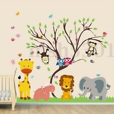 Removable Jungle Zoo Elephant Lion Monkey Tree Owl Bird Wall Sticker Decal Decor