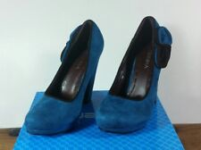 CURVE HEEL FAUX SUEDE PLATFORM TEAL AND BLACK SHOES UK SIZE 5 NEW IN BOX