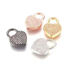 10pcs Brass Micro Pave Cubic Zirconia Heart Lock Pendants Mini Charms 20x14mm