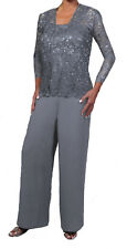 Silver 4X MOB Formal Mother of the Bride 3 Piece Pant Suit With Lace Jacket