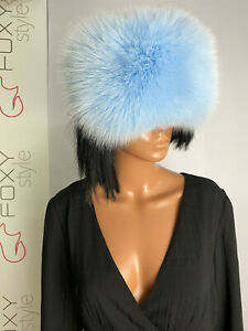 Shadow blue fox fur eye band double side fur