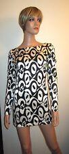 Ungaro Parallele S M 8 Black White Geometric GoGo Dress 60's Style Mini Op Italy