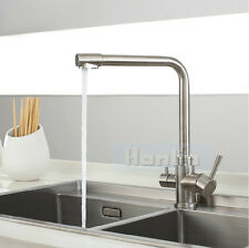 NEW 304 SS Brushed Nickel 3 Way Dual Faucet Kitchen Mixer Taps Pure Water Filter