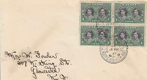 Canada FDC Sc # 246/48 (3) block-Royal Visit to Canada-USA without cachet-WW7313
