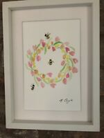 Bumble Bees/Tulip Original Signed Art Watercolour Painting, Framed And Gift Wrap