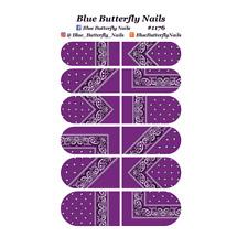 1176 - Purple Paisley Bandana Bandanna Nail Water Decals