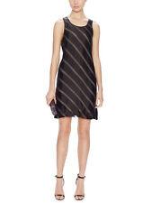 L'AGENCE $320 black chiffon ribbon diagonal stripe sheer layered dress 2 NEW