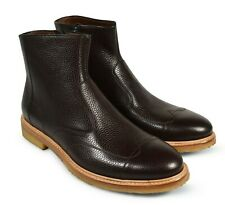 A.Testoni Men brown bright leather ankle boots 9 US (8 UK) NEW