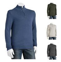New Men's Croft&Barrow Slim-Fit Mockneck 1/4-zip Cotton Sweater Size XL, XXL $50