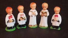 (Lot Of 5) Vintage Small Miniature Plastic Boys Singing Praying In Choir