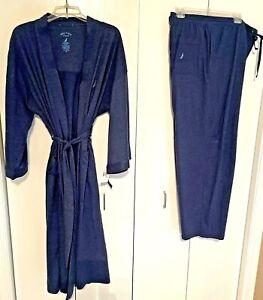 NWT Nautica Cotton Knit Sleepwear: Men's Robe  OSFA & PJ Bottoms XL  Navy Blue