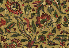 Braemore Fabric Gold Burgundy Dark Salmon Green Cotton   Drapery Upholstery