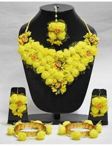 Yellow Flower Jewelry Necklace,Earrings,Sangeet,Haldi/Wedding Floral Bridal
