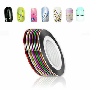 10 Pcs Mixed Colorful Nails Beauty Rolls Striping Decals Foil Tips Tape Line