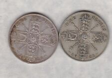 1921 & 1923 GEORGE V 50% SILVER FLORINS IN GOOD FINE CONDITION