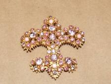 Vintage Goldtone Pink Purple Art Glass & Rhinestone Fleur De Lis Pin Brooch 2.5""