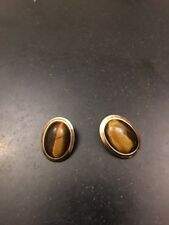 Eye Clip On Earrings 1� Unsigned Vintage Gold Tone Faux Tiger