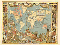 1886 Pictorial Map Extent of the British Empire England UK Wall Art Print Poster