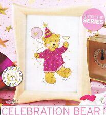 Lesley Teare Cross Stitch pattern from magazine - CELEBRATION BEAR - teddy bear