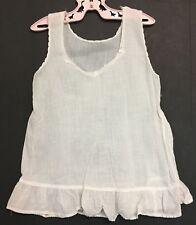 Vintage Large Doll Or Girls Toddler V Neck White Cotton Petticoat Dress Slip