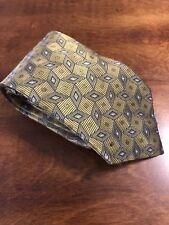 Jos A Bank Neck Tie  Yellow Blue Geometric Necktie Vintage 100% SILK E5