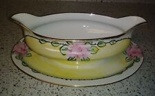 Antique Z S & Co Barvaria Yellow Luster Gravy Boat w Underplate HP Pink Roses EX