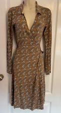 WHITE STUFF Beige & orange floral long sleeved wrap dress - Size 8