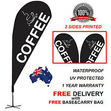 2.1m BLACK COFFEE Teardrop Flag Banner Kit Outdoor CLBLK310