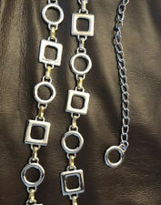 Women's 2 Tone Silver & Gold Heavy Chain Link Belt Adjustable Square & Circle