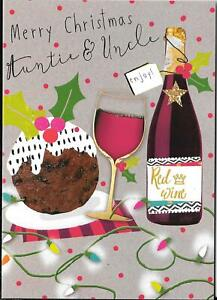 CHRISTMAS CARD FOR AUNTIE & UNCLE - CHRISTMAS PUDDING, RED WINE, LIGHTS, HOLLY