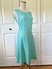 Women's Connected Lace Lined Green Aqua Dress 12 Or Large Sleeveless TEE91436M1