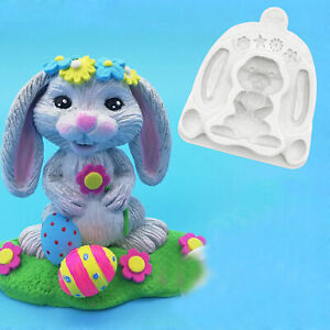 3D Rabbit Silicone Cake Mold Fondant Chocolate Decorating Baking Topper Mould