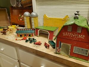Marx Happi Time Farm Metal Barn 1950s play set garden implements animals fence